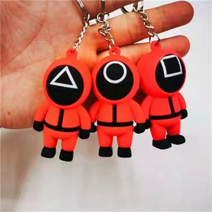 TV Squid Game Keychain Keepsakes Popular Toy Anime Surrounding Wooden People Pontang PVC Keychains Gift