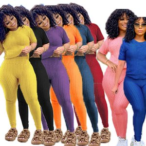 Yoga Outfit Women Tracksuits Ladies Short Sleeved Trousers Two Piece Woman Pencil Pants Suit Exercise Running Workout Clothes Comfortable Eight Colors