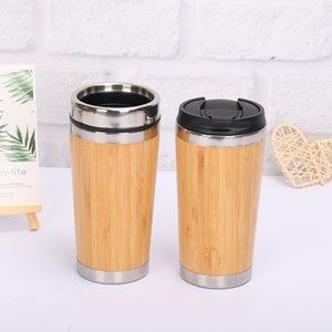 Bamboo vacuum cup Tumblers 304 Stainless Steel Inner Water Bottles car Travel Bamboo Mugs Reuseable Coffee Cups kitchenware