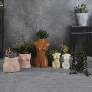 Mini Body Art Design Vase Flower Pot Kardashian Sexy Ceramics Creative Chest Bust Statue Planting Home Decoration Desk Decor 210409