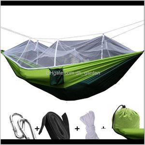 Hammocks Furniture Home Garden Drop Delivery 2021 Est Fashion Handy Person Portable Parachute Fabric Mosquito Net Hammock For Indoor Outdoor