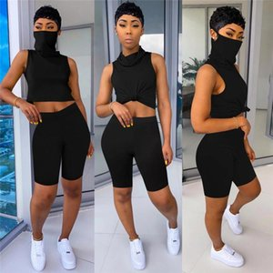 2PCS Women Sports Tracksuit Turtleneck Tank Crop Top High Waist Biker Shorts Pants Workout Outfit Summer Casual 2 Piece Set 2020