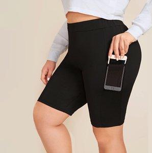 Плюс Размер трексец Высокая стрейч бегая активная одежда короткая с боковым карманом сетки