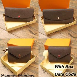 Zipper Purse Men Women Leather Wallet Original Box Date code lady ladies long wallets card holder 60136 41938