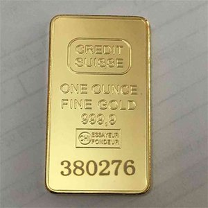 10 Pcs Non Magnetic CREDIT SUISSE Ingot 1oz Gold Plated Bullion Bar Swiss Souvenir Coin Gift 50 X 28 Mm With Different Serial Laser Number