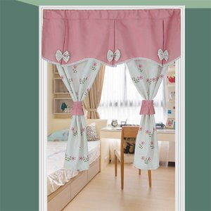 Pastoral Door Curtain Flowers Leaves Printed Short Curtains for Living Room Bathroom Partition Half Kitchen Curtains Small Drape 210831