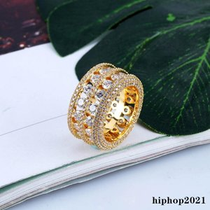 Mens Hip Hop Iced Out Rings New Fashion Gold Silver Wedding Ring Jewelry High Quality Diamond Ring
