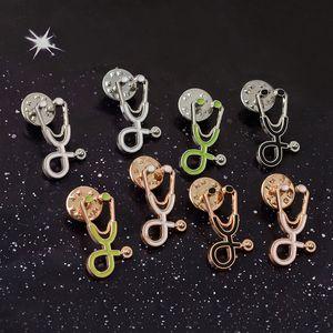 Hot Nurse Doctor Stethoscope Enamel Brooch Pins Creative Lapel Brooches badge For women Men Girl Fashion Jewelry Gift