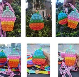 Rainbow Fidget toys sensory poppet bubble purses chain bag push pops cartoon drink pear fruits shape corssbody shoulder bag kids girls boys Anti anxiety toy G94CUUM