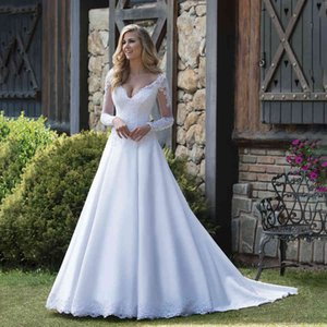 V-neck Matte Satin with Lace Applique Long Sleeves White Wedding Dress Garden Style Sexy Famous Bridal Gown vestito da sposa