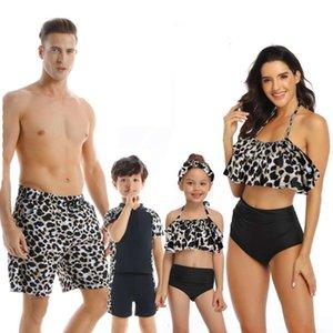Men's Swimwear wear nylon printed family parent child swimsuit baby boy and girl