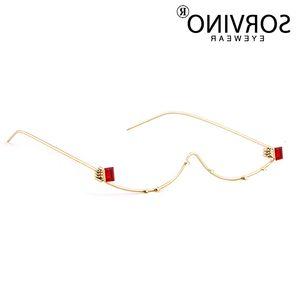 SORVINO Slim No Lens Cat Eye Glasses Frame Brand Women Half Red Diamond Lensless Cateye Sunglasses SVN56