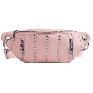 2021 high-quality PU leather Waist Bag Women Pink Beige Black Crossbody Bags Fanny Pack Belt Black Waist Packs Chest Phone Pouch with Rivet
