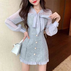 New Spring Vintage Sexy See-through Chiffon Patchwork Tweed Mini Dress Women Ribbon Bow Single-breasted Long Sleeve Party Dress 210409
