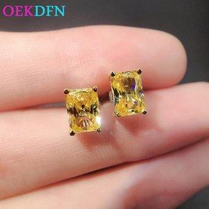Stud OEKDFN 100% 925 Sterling Silver Earrings Citrine Gemstone Wedding Engagement Vintage Luxury Ear Studs Fine Jewelry