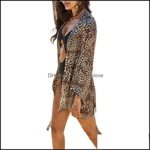Er-Ups Swimming Equipment Sports & Outdoorser-Ups Fashion Trend Women Leopard Print Swimsuit Bikini Er Ups Chiffon Thin Beach Sunscreen Kimo