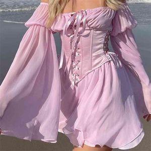 Mousseline Slash Col Mini Robe Femmes Summer Beach vacances à manches longues Corset Bandage Sundress Partie Robes décontractées Rose 210529