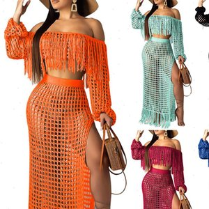 2 Piece Women Tracksuits Set Summer Crochet Dress Beach Wear Crop Top Sexy Ladies Long Sleeve Tassels