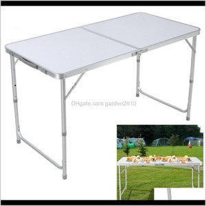 Living Room Furniture Home Use Adjustable Aluminum 90 60 X 70Cm Outdoor Portable Folding Table Stool Set For Camping Picnic Party Bbq 4Qxhu