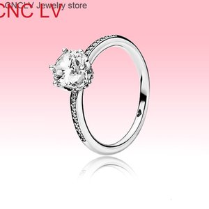Bague brillante blanche Cz Diamond Femmes Mariage pour Pandora 925 Sterling Silver Mentions de fiançailles avec des ensembles de boîtes d'origine