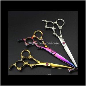 Professionelle 6-Zoll-Japan 440c Dragon Cut Hair Schneideschere Salon Dünner Sissors Barber Makas Friseurschere Kwi96 4ODR1
