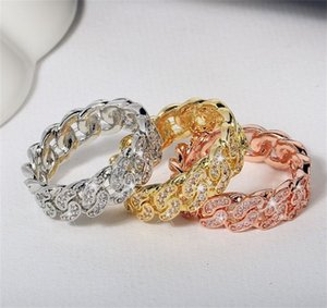 CUBAN LINK Rings Hiphop Wedding Party Jewerly Oced Out Cubic Icirconia Мода Микро Прогнозное кольцо для Женщин Bague Femme Оптовая 308 J2