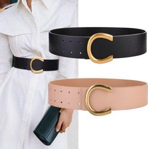 Cinturón para mujer Moda Hebilla suave C Letra Diseño Cinturones para mujer Ancho de cuero genuino 5.6cm 5 colores Altamente calidad