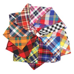 Dog Bandana Small Large Dog Bibs Scarf Washable Cozy Cotton Plaid Printing Puppy Kerchief Bow Tie Pet Grooming Accessories HHB6313