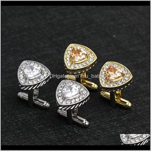 Tie Clasps Tacks Jewelry Drop Delivery 2021 Multiple Luxury Zircon Crystal Cufflinks For Mens Women Shirt Lawyers Cuff Links Arm Button Weddi