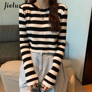 Jielur Knitted Sweaters O-neck Sweater Women Autumn Winter Stripe Pullovers Basic Primer Pull Femme Short Chic Jumper Soft Slim 210412