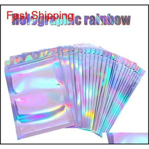 Bulk Kitchen Housekeeping Organization Home & Garden Drop Delivery 2021 Food Ziplock Resealable Smell Proof Bags Foil Holographic Flat Bag Fo