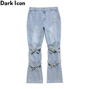 Dark Icon Band on Knee Flare Jeans Men Women Street Fashion Men's Denim Pants Black Blue