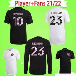플레이어 + 팬 버전 2021 2022 MLS 인터나이이애미 Socer Jerseys 홈 멀리 화이트 블랙 22 22 Beckham Higuain Matuidi CF Pizarro 축구 셔츠 유니폼