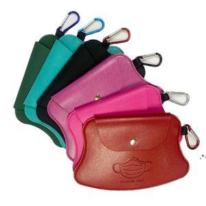 Portable Mask Storage Bags Keychain Carabiner Reusable Dust Masks Bag Keyring Pendant Fashion PU Leather Car Key Chain 5 Colors EWF6301