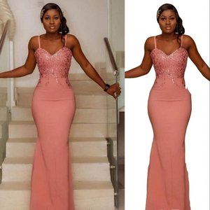 2021 Arabic Coral Mermaid Bridesmaid Dresses Spaghetti Straps Lace Appliques Long Zipper Back Floor Length Plus Size Maid Of Honor Gowns Wedding Guest Dress