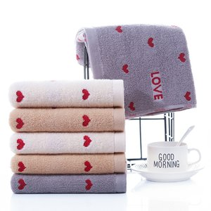 Leisure Heart Shaped Embroidered Towel Non Shrink Comfortable Delicate Face Towels For Couple Vacation Bathroom Supplies