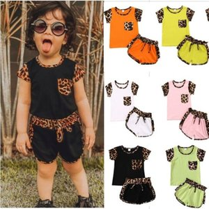 Summer kids leopard T shirts and drawstring shorts biker Clothing set designers sweat shirt tops sportswear 2 piece outfit child tracksuit casual suit 80-120 G42QL51