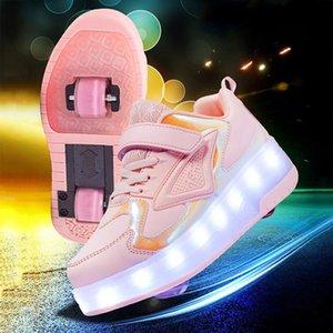 Светящиеся роликовые туфли для для девочек кроссовки повседневные дети мужчины женщины мода два колеса коньки мальчики спорты на открытом воздухе