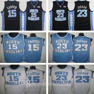 Высочайшее качество 15 Винс Картер Ю.С. Джерси Северная Каролина Синий Белый Сшитый Сшитый NCAA Колледж Баскетбол Майки Вышивка Шорты Костюм Размер S-2XL