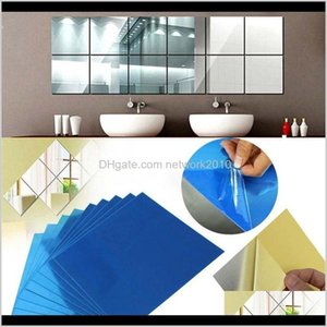 Stickers Décor Home & Garden Drop Delivery 2021 Mirror Surface Modern Wall Decor Decals 0Dot1Mm Square Acrylic Self Adhesive Sticker For Livi