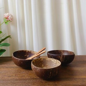 Bowls Coconut Rope Ring Natural Bowl Protection Wooden Wood Tableware Spoon Set Coco Smoothie Kitchen