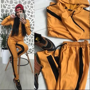 Tracksuit Two Piece Set Autumn Womens Tracksuits Clothing Sets Side Striped Sweatshirt Top and Pants Sport Jogger Suit Female Casual