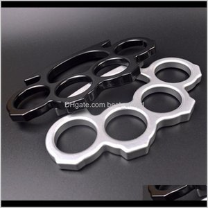Favor Event Festive Party Supplies Home & Garden Drop Delivery 2021 10Pcs Sier Black Thin Steel Brass Knuckle Dusters,Self Defense Personal S
