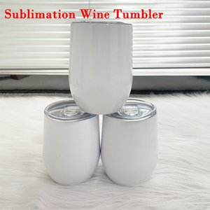 Sublimation Wine Tumbler Mug 12oz DIY Stainless Steel Coffee Cup Double Wall Insulated Milk Mugs Heat Transfer Coating Cups For Party Gift