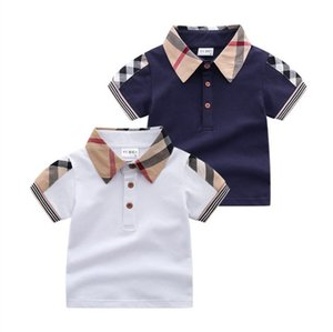 Baby Boys Turn-Down Collar T-Shirt Estate Bambini a maniche corte T-shirt T-shirt Gentleman Style Bambini in cotone Casual Top Tees Boy Shirts Bambino Vestiti