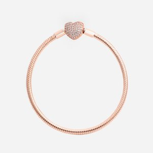 Rose Luxo Moda 18k Gold CZ Diamond Heart Braceletes Caixa Original para Pandora 925 Prata Snake Snake Chain Bracelet