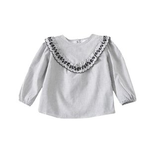 Shirts WLG Girls Casual Blouses Kids Spring Autumn Striped O-neck Long Sleeve Shirt Baby Girl All Match Tops For 1-5 Years