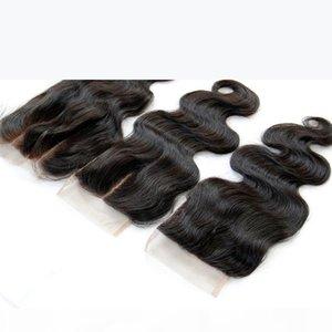 Бразильский перуанский малазийский индийский Камбоджийский кузовной волна кружева закрытие 4 * 4 необработанные девственницы человеческие волосы верхние замыкания.