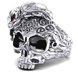 Gothic neutral fashion high quality skull ring punk style stainless steel carved flower skull ring inlaid natural stone jewelry gift