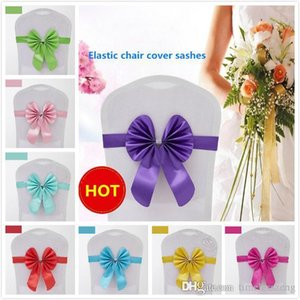 Spandex chairs 16 colors elastic covers sashes bowknot chiffon chair cover for band wedding event parties accessories FWTX